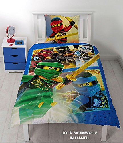 lego ninjago kinder bettw sche flanell biber 2 tlg 80. Black Bedroom Furniture Sets. Home Design Ideas