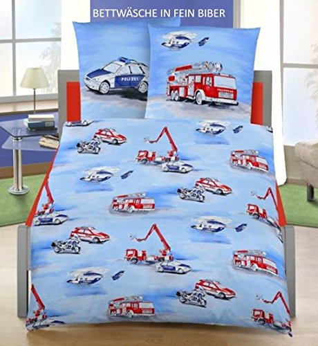 fein biber kinder bettw sche polizei feuerwehr auto 2 tlg hergestellt in deutschland gr e. Black Bedroom Furniture Sets. Home Design Ideas