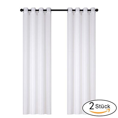 gardine vorhang transparent voile gardinenschals vorh nge mit sen 2 st ck 140 x 245cm wei. Black Bedroom Furniture Sets. Home Design Ideas