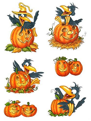 Dpr fensterbild set 6 teilig herbst k rbis rabe halloween fenstersticker fenster dekoration - Herbstdeko kurbis ...